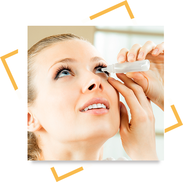 Woman with eye allergies using eye drop medication.