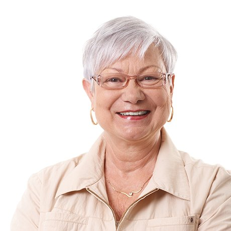 Older woman in need of diabetic eye care from an ophthalmologist.